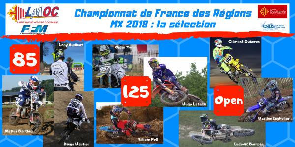 Championnat de France des Régions MX 2019 : la sélection