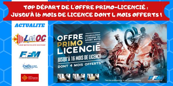 Top départ de l'offre Primo-Licencié : jusqu'à 16 mois de licence dont 4 mois offerts !