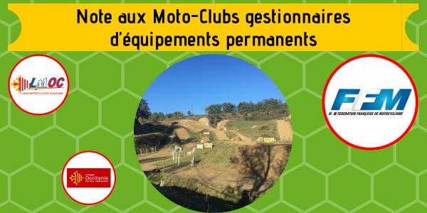 Note aux Moto-Clubs gestionnaires d'équipements permanents