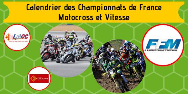 Calendrier des Championnats de France Motocross et Vitesse