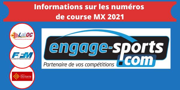 Informations sur les numéros de course MX 2021