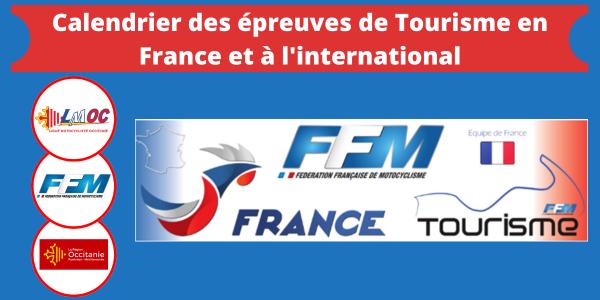 Calendrier des épreuves de Tourisme en France et à l'international